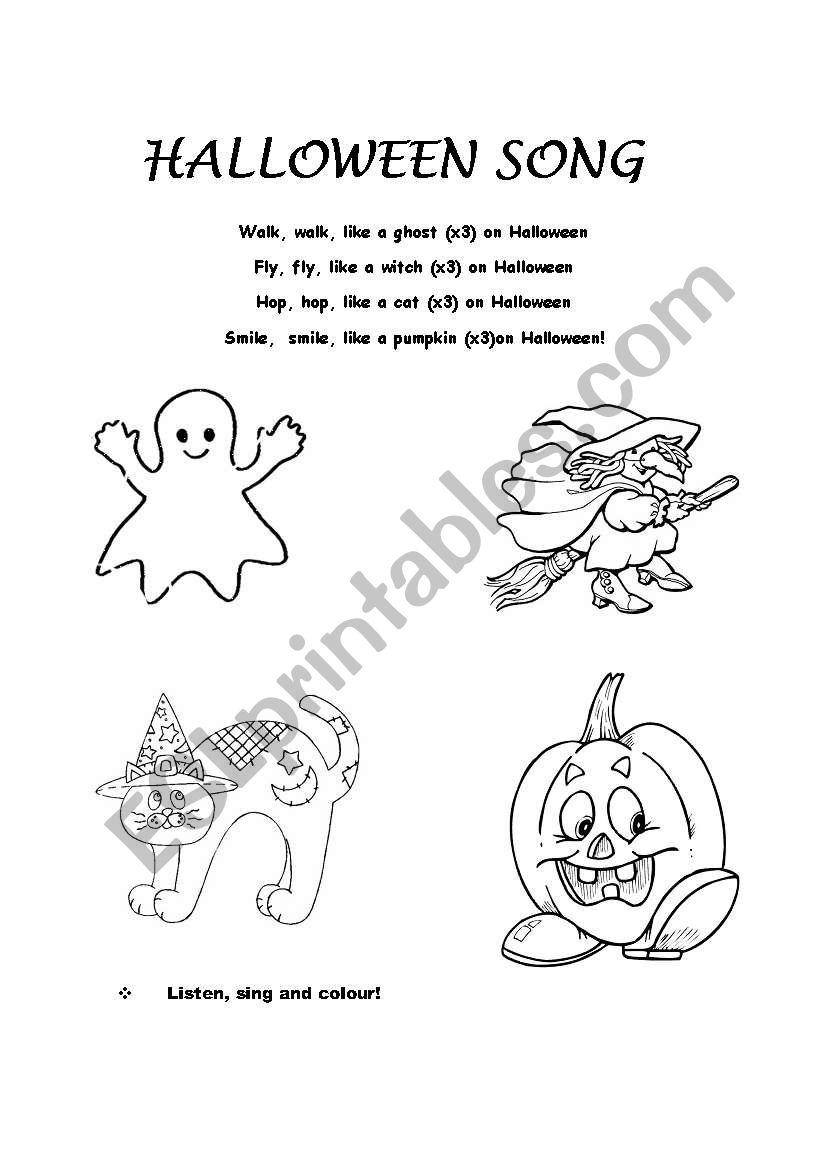 halloween song children worksheet