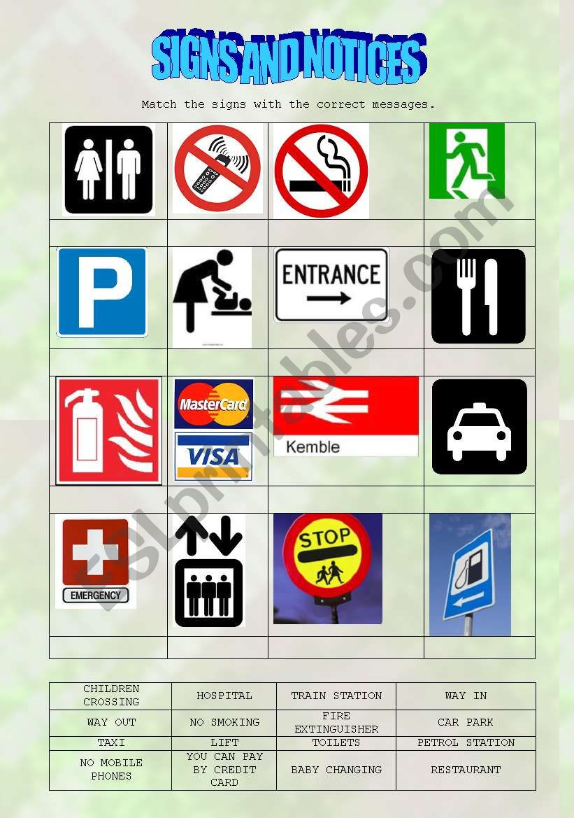 Signs And Notices From Everyday Life Matching Activity