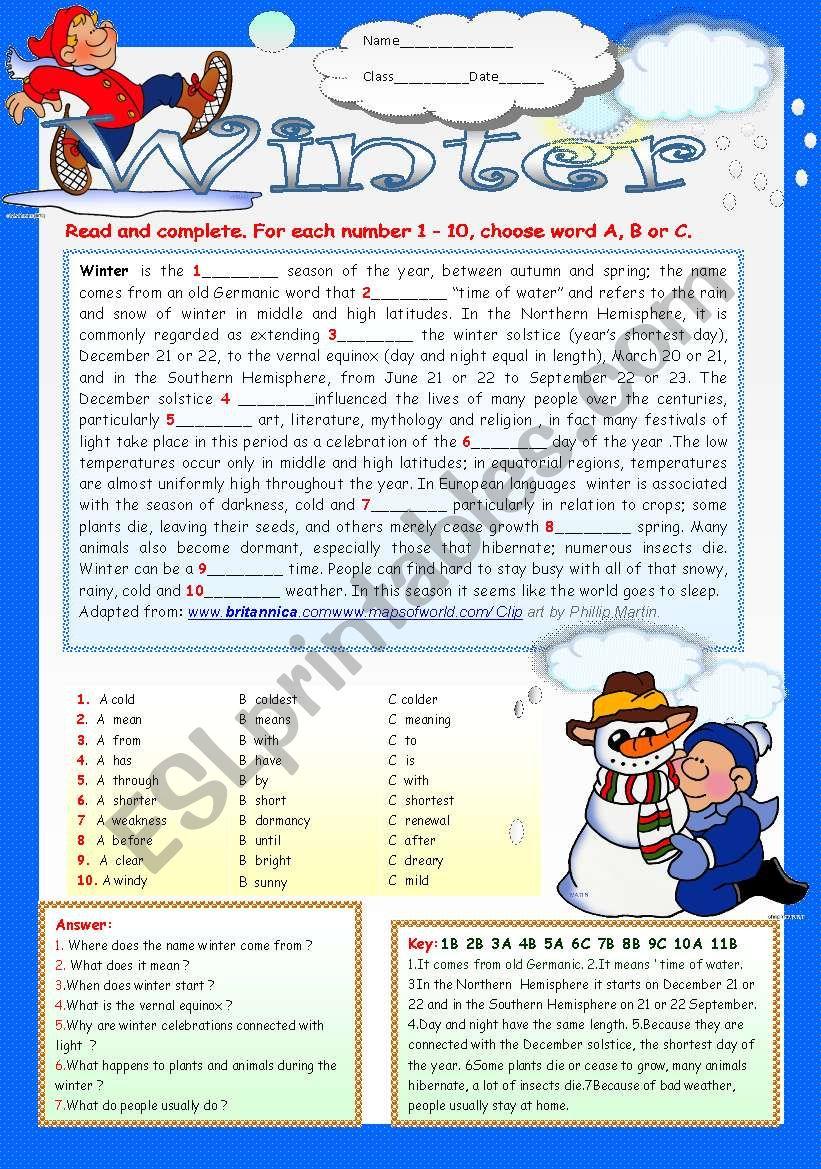 WINTER  - ESL worksheet by LUCETTA06