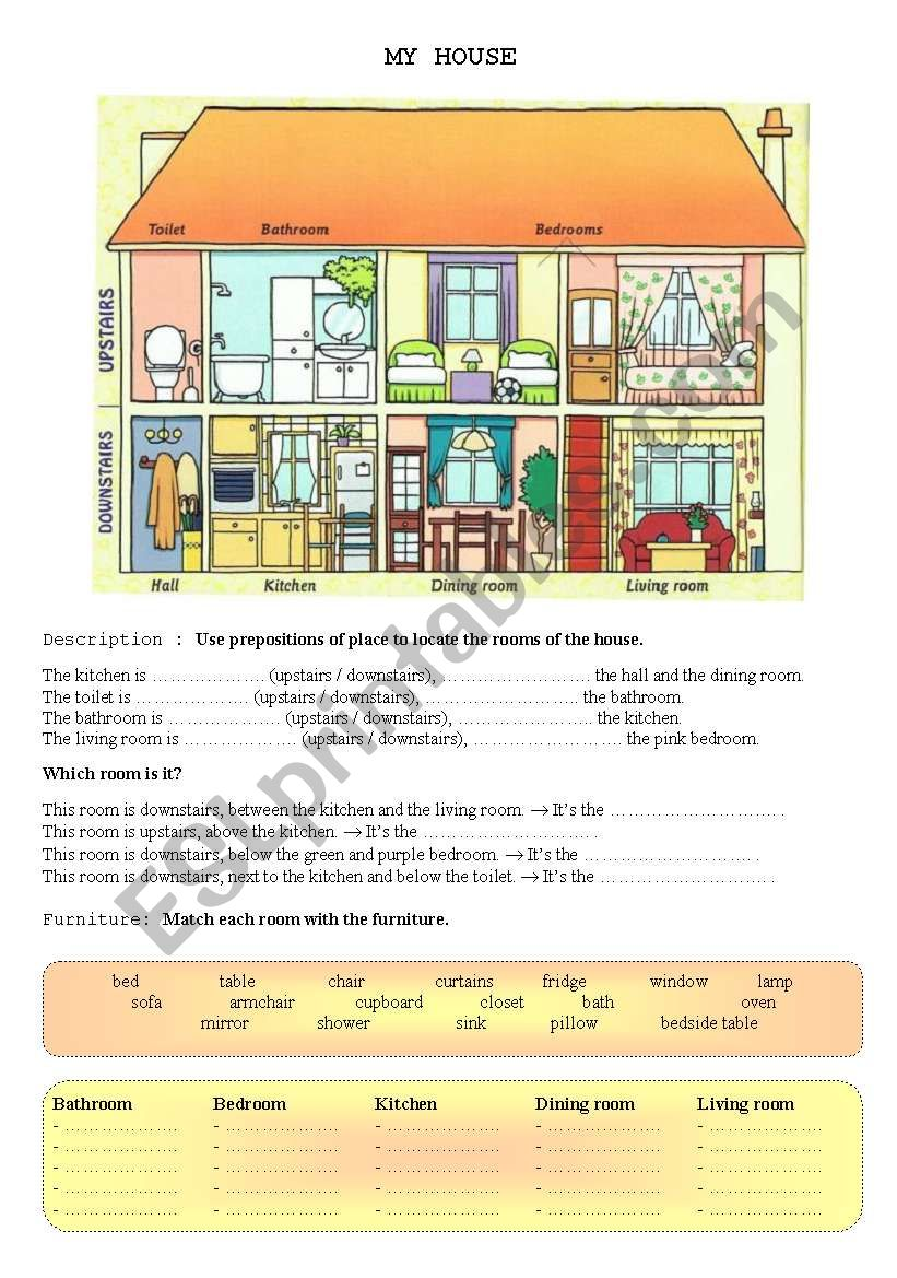 My house worksheet