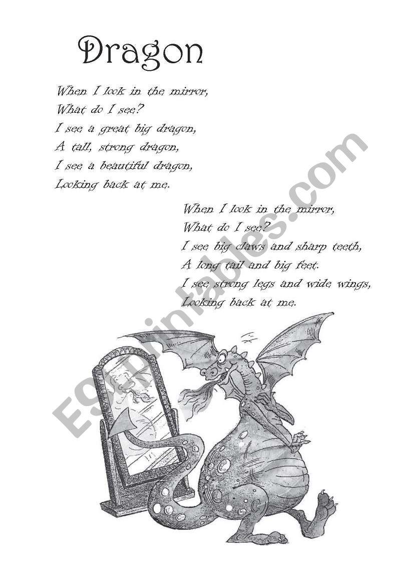 Poem: Dragon worksheet