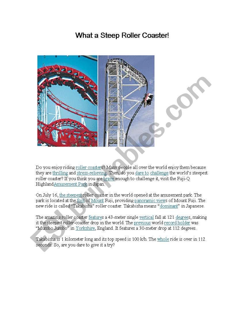Reading Comprehension Roller Coaster Esl Worksheet By Laideed
