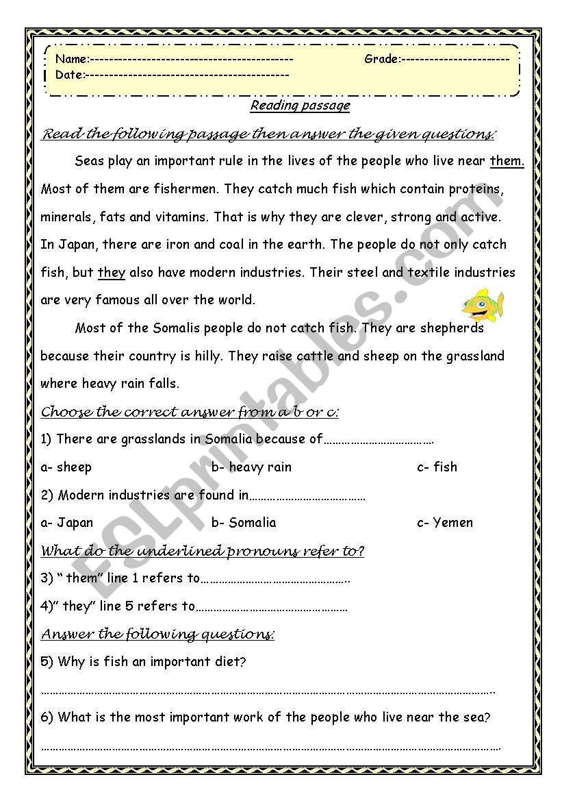 - Reading Comprehension Passage With Questions