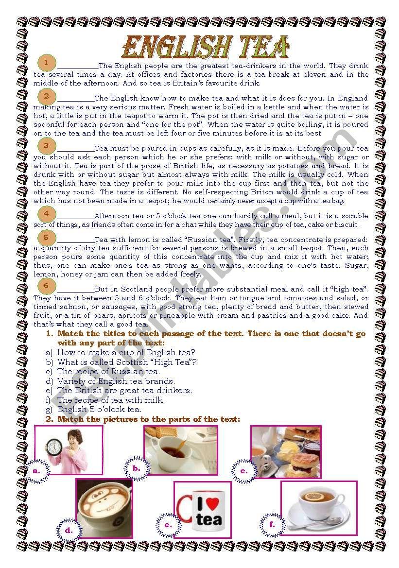 English Tea worksheet