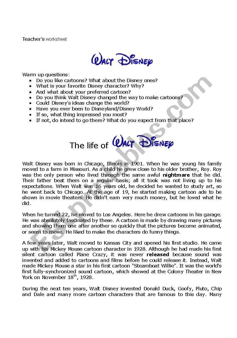 Walt Disney ´s life worksheet