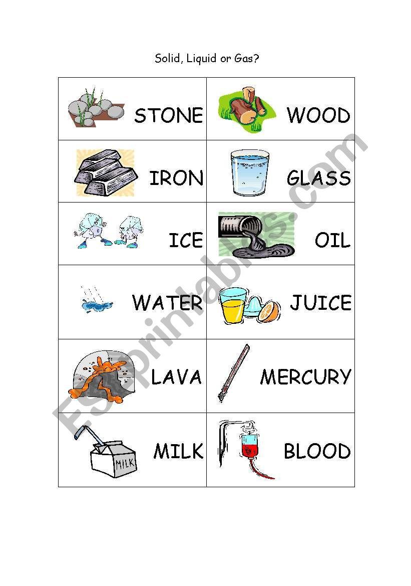 English Worksheets Solid Liquidgas