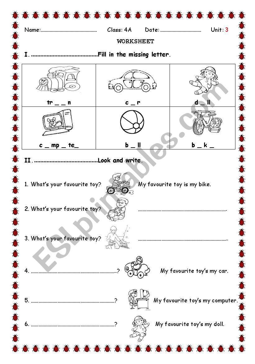toys for children worksheet