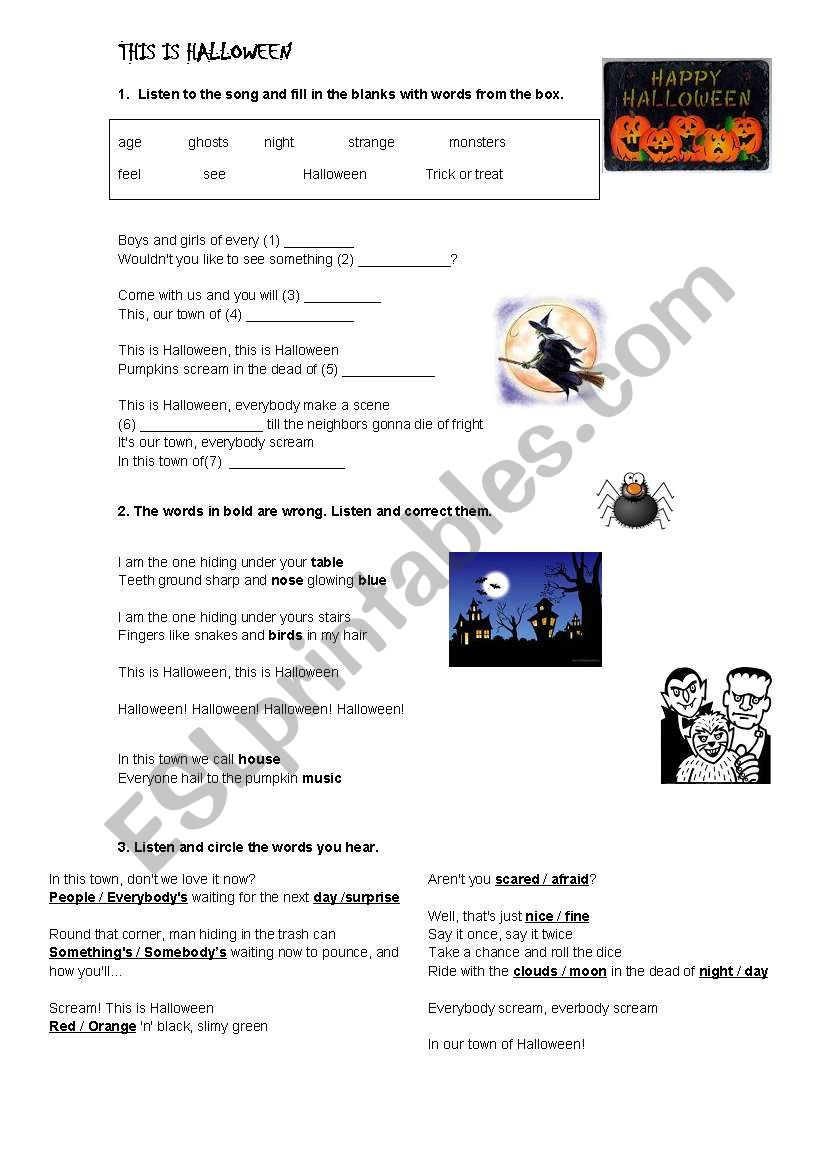 This is Halloween - song worksheet