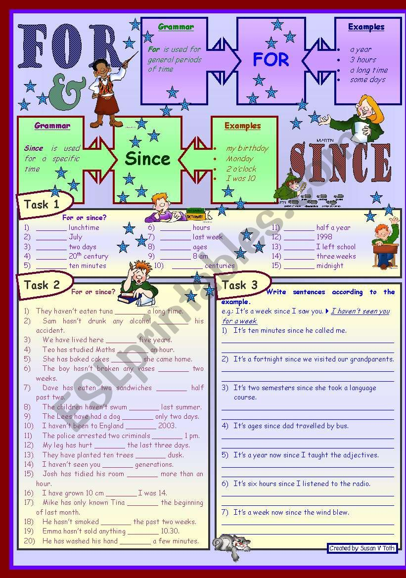 Since or for *** with grammar *** upper-elementary (A2) *** with key *** B&W
