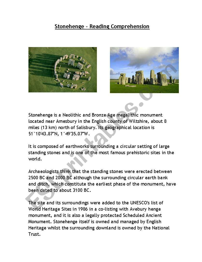 Stonehenge - Reading Comprehension