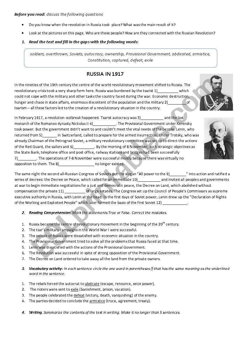 Revolution in Russia   ESL worksheet by electrelane