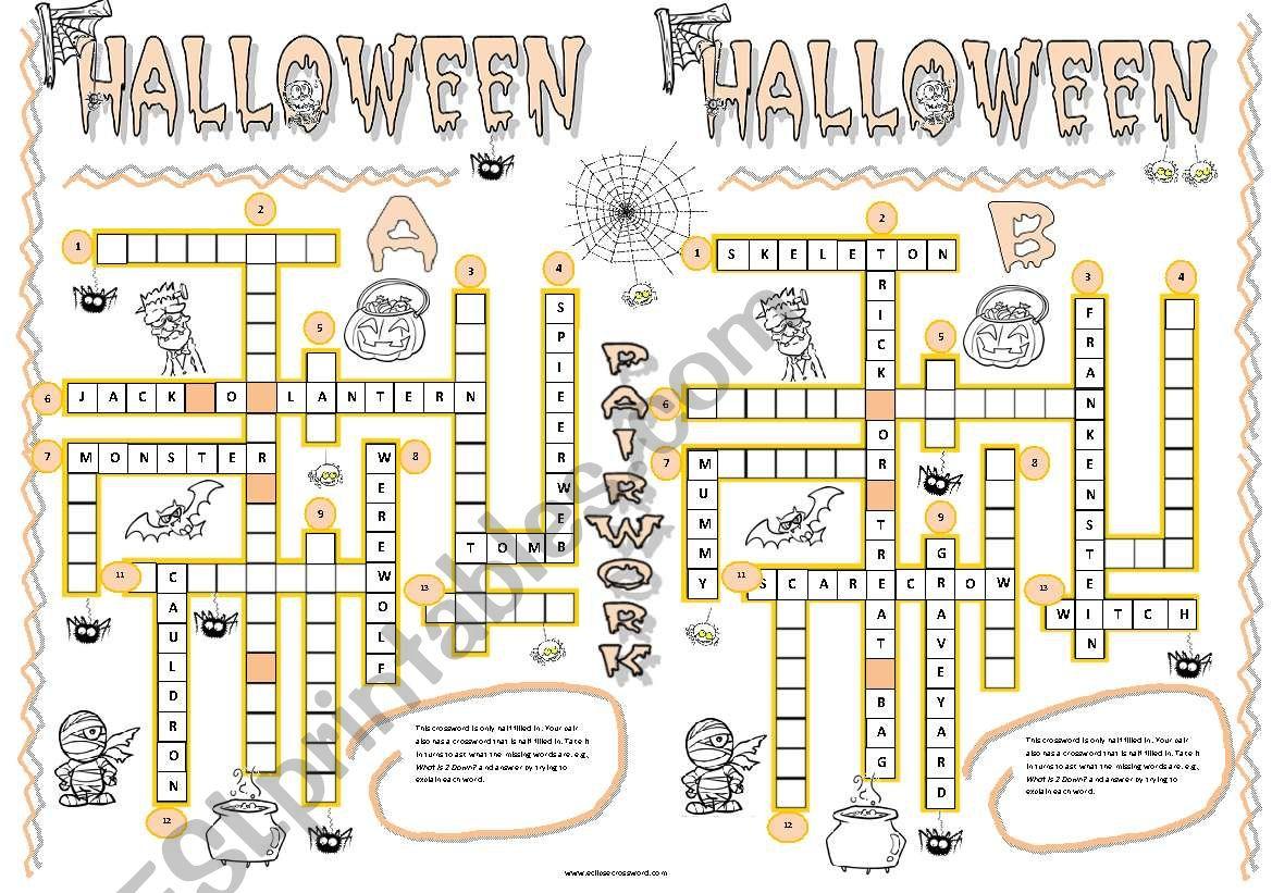 HalloweenPairWork worksheet