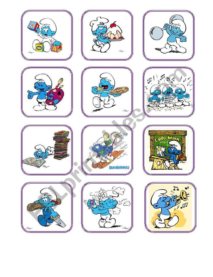Smurfs Verbs worksheet