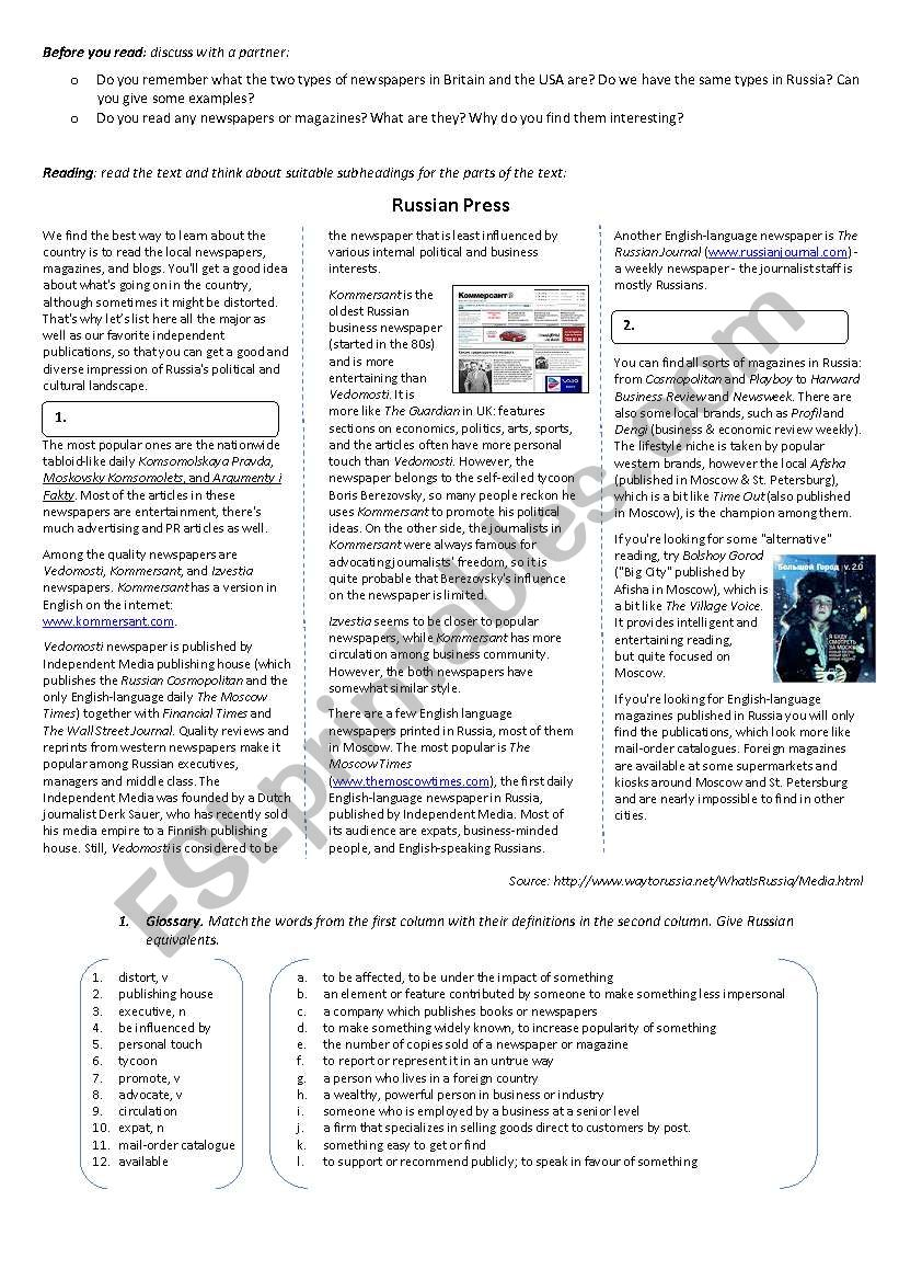 Press in Russia - ESL worksheet by electrelane