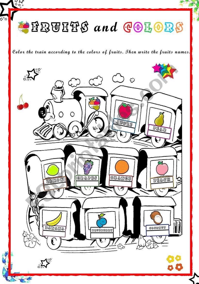 Fun Fruit Train worksheet