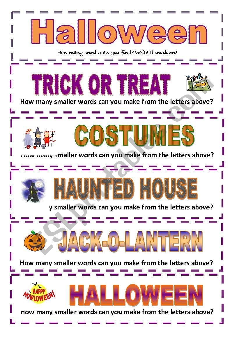 Halloween: How many smaller words can you make? (3 pages ...