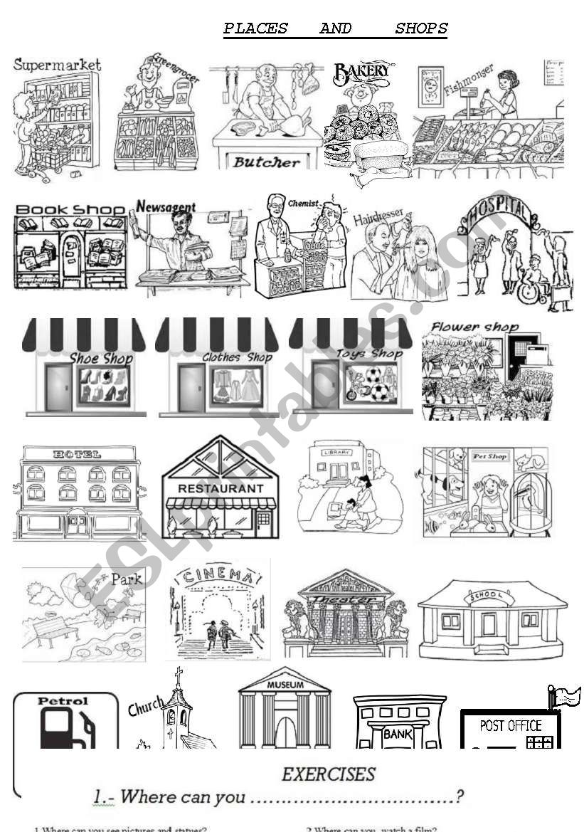 Places and shops worksheet
