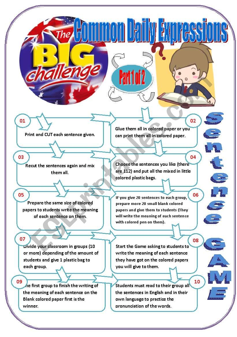 #67# Sentences - ENGLISH CHALLENGE - SENTENCE GAME Part 1 of 2 - Game with 10 instructions + 67 sentences ready to print