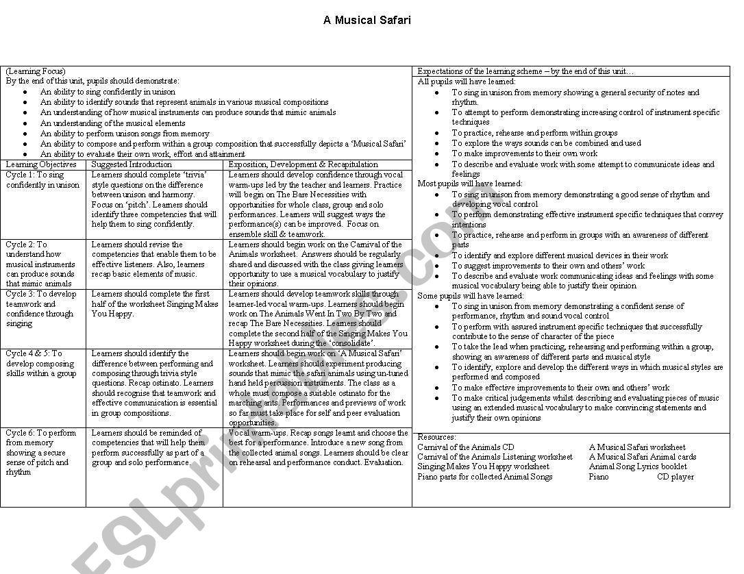 Safari worksheet