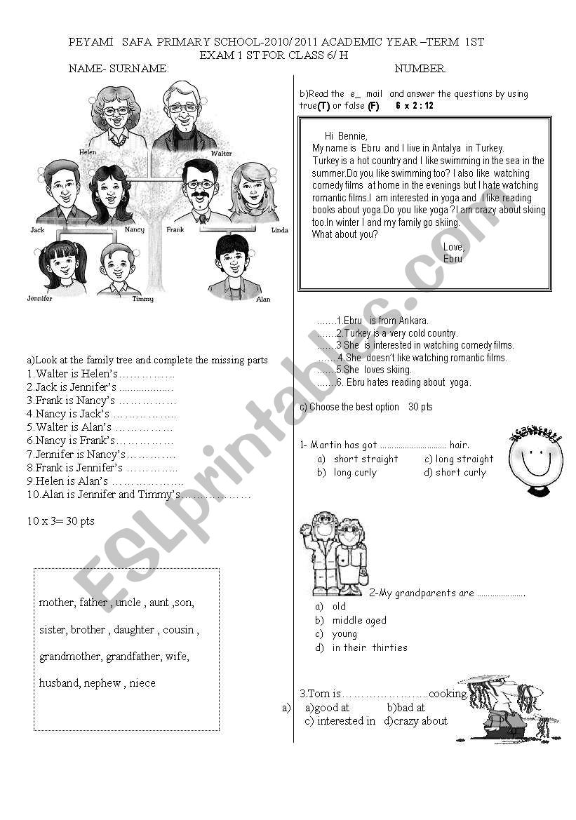 a good exam paper worksheet