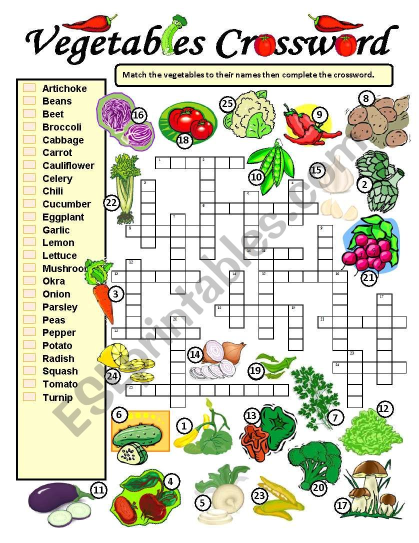 Vegetables Crossword worksheet