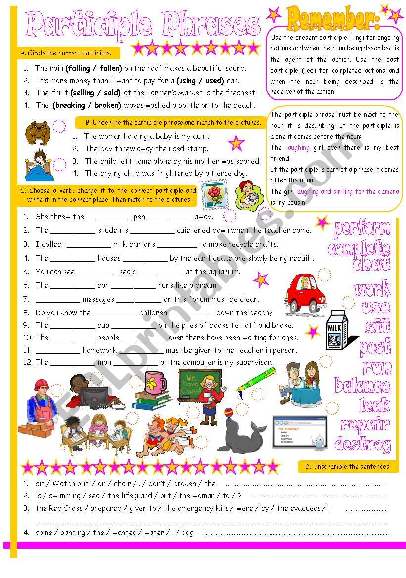 Participle Phrases Ing And Ed Participles Used As