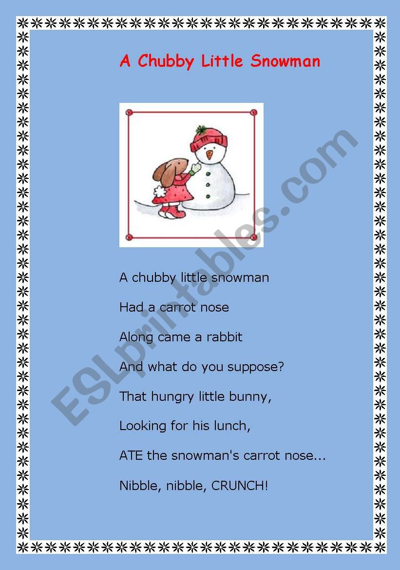 picture relating to Chubby Little Snowman Poem Printable known as English worksheets: A obese minimal snowman