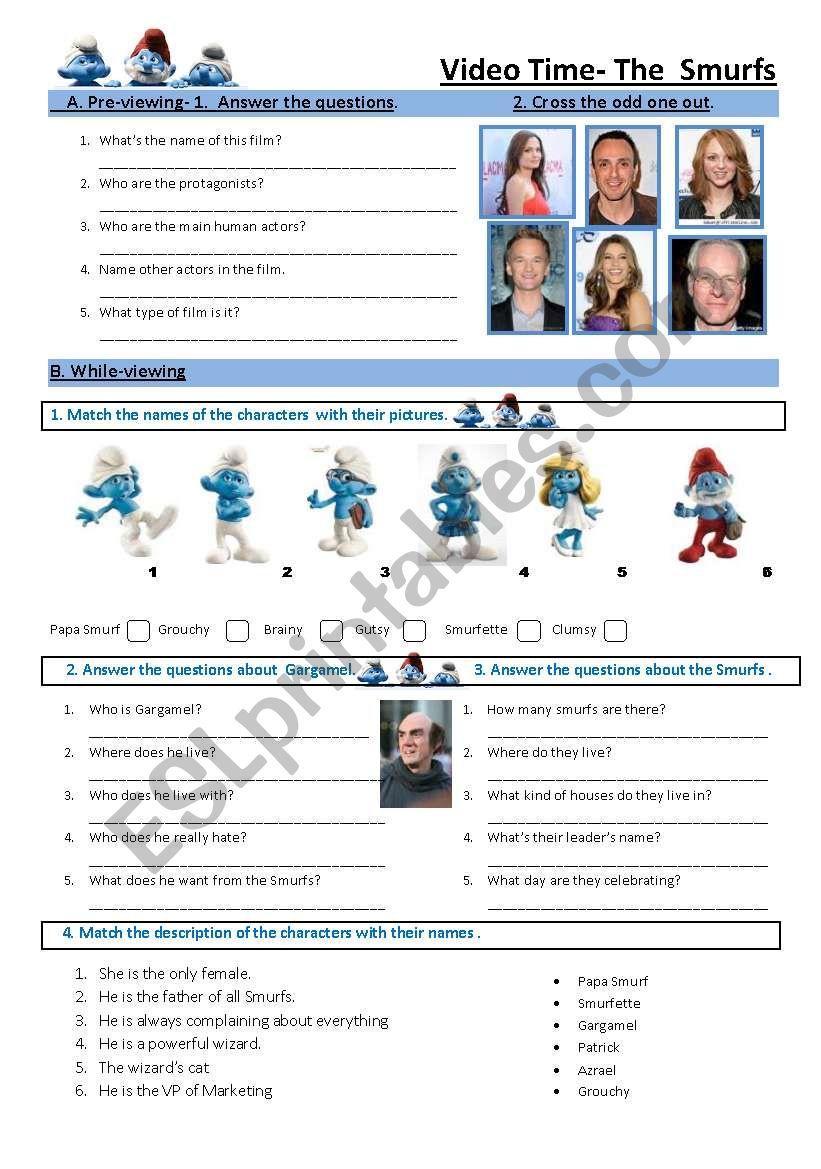 The Smurfs movie worksheet worksheet