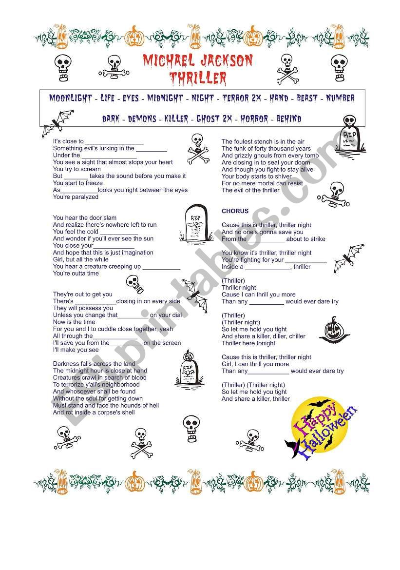 Michael Jackson Thriller worksheet
