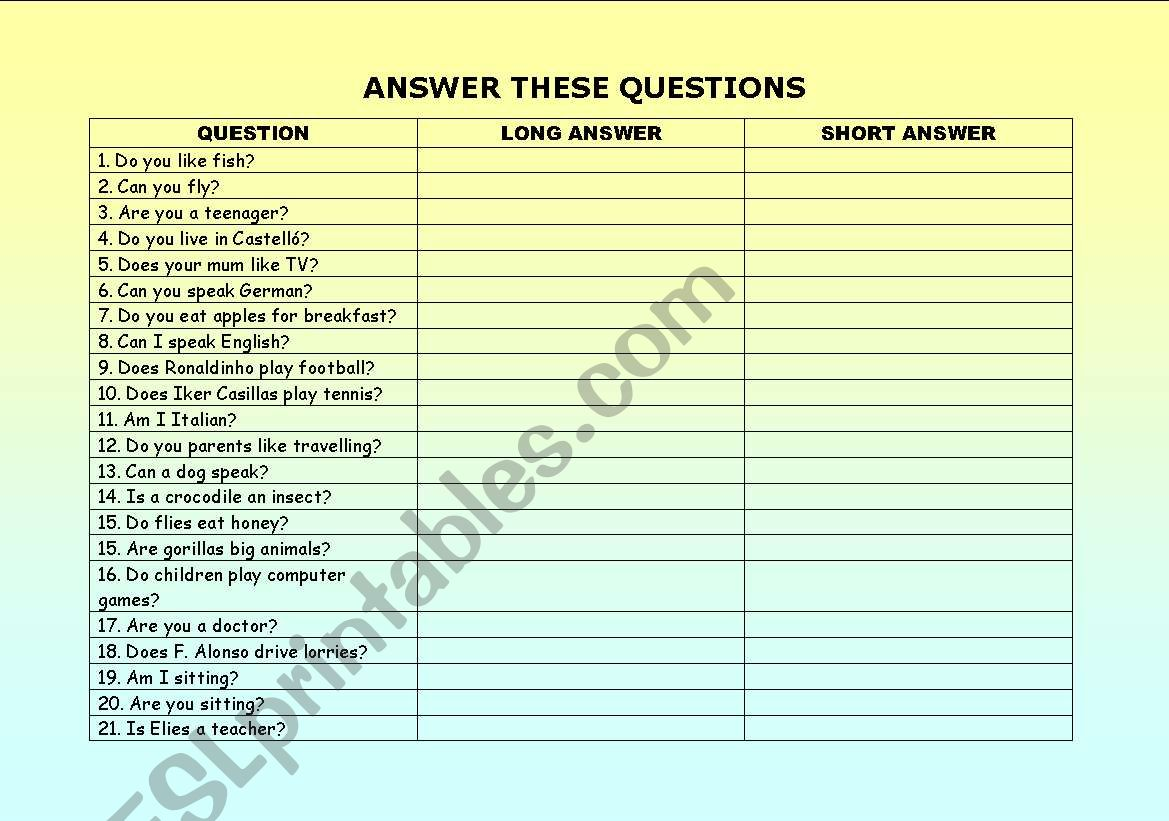 ANSWER THESE QUESTIONS worksheet