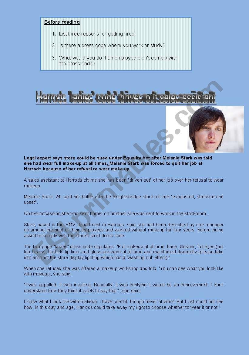 Reading: Harrods employee worksheet
