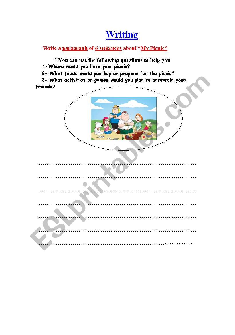 My Picnic & future simple worksheet