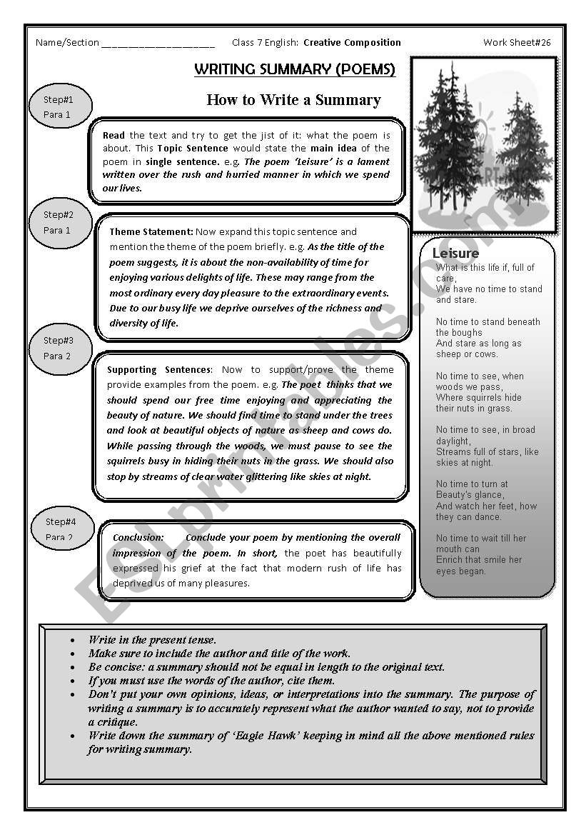 English worksheets summary writing summary writing worksheet thecheapjerseys Image collections