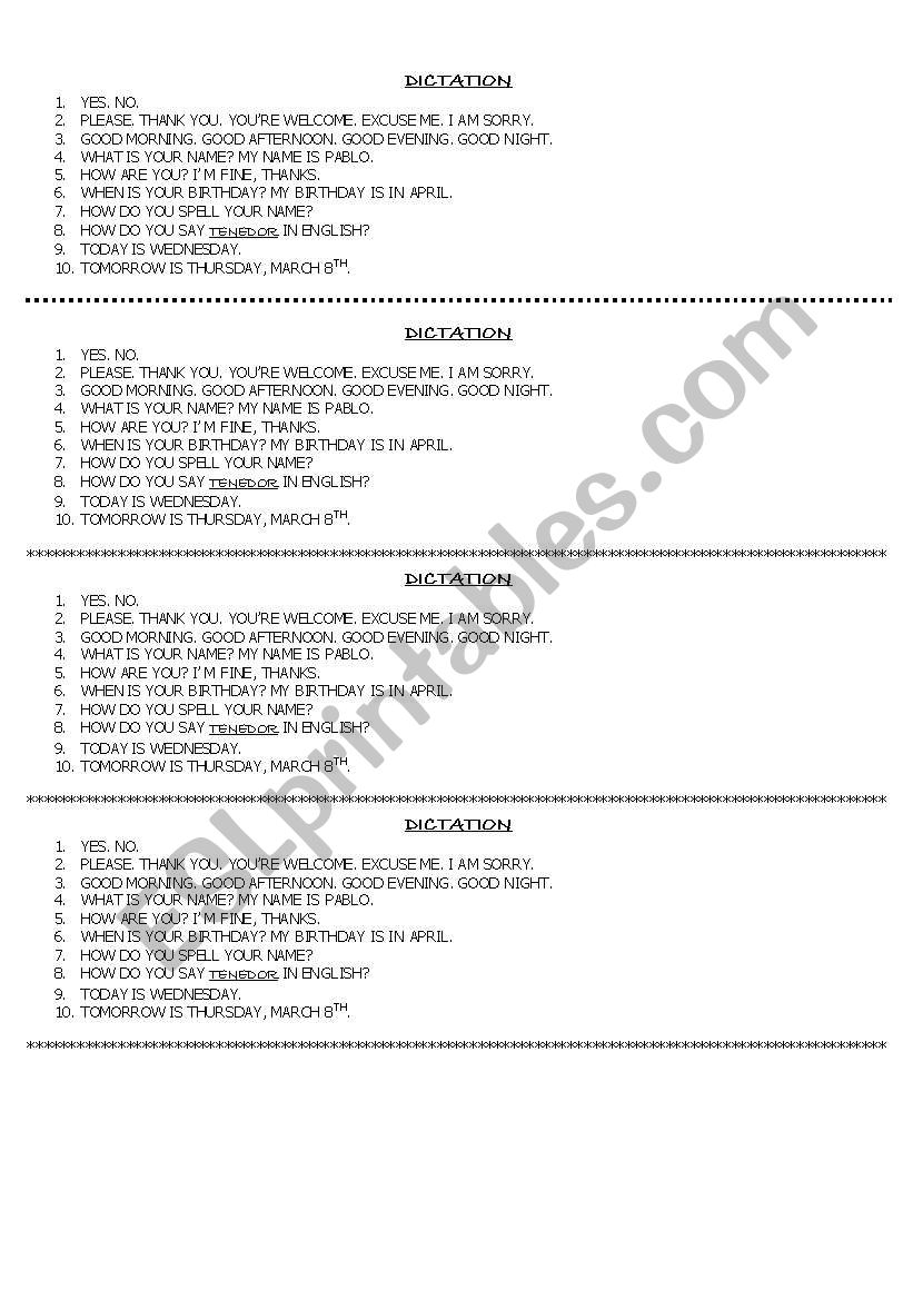 DICTATION FOR BEGINNERS worksheet