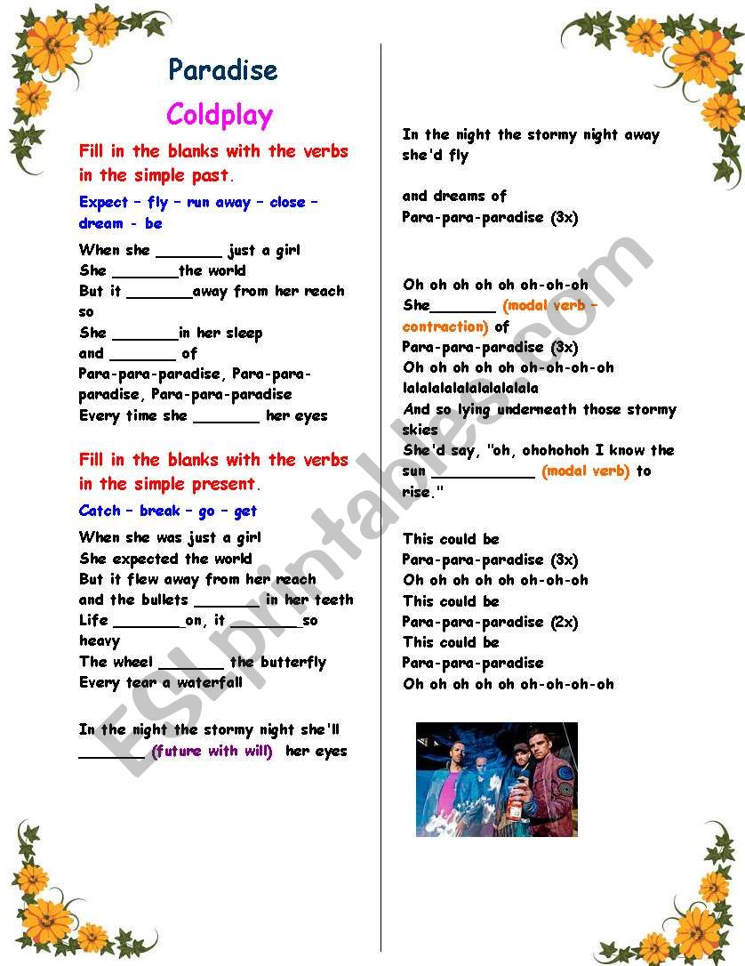 Working with verb tenses : Song - Paradise (Coldplay) , with answer key