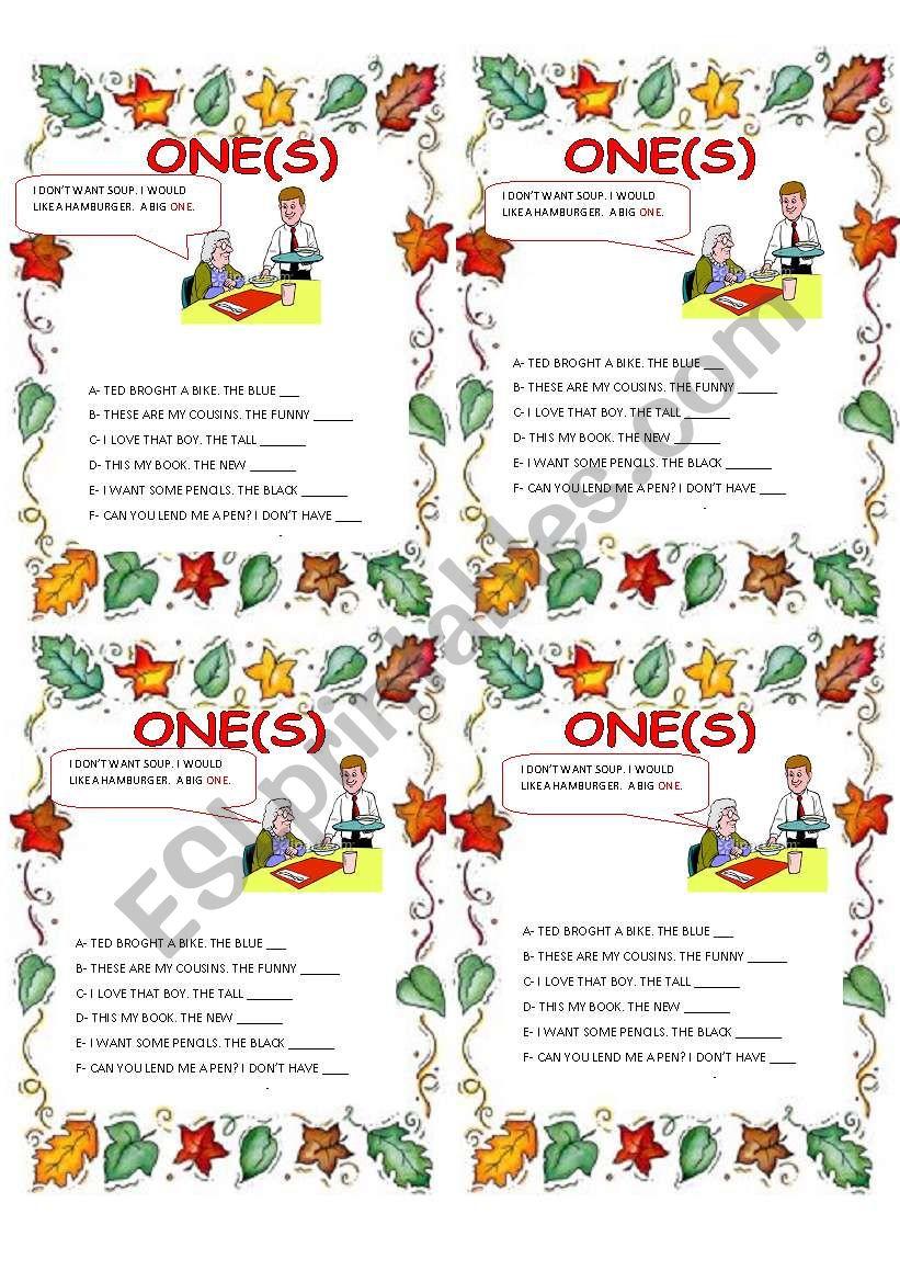 ONE / ONES worksheet