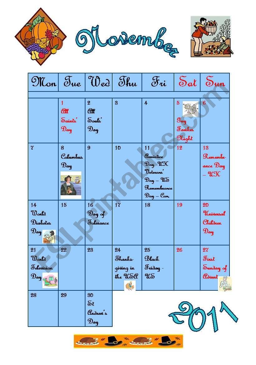 November 2011 - calendar worksheet