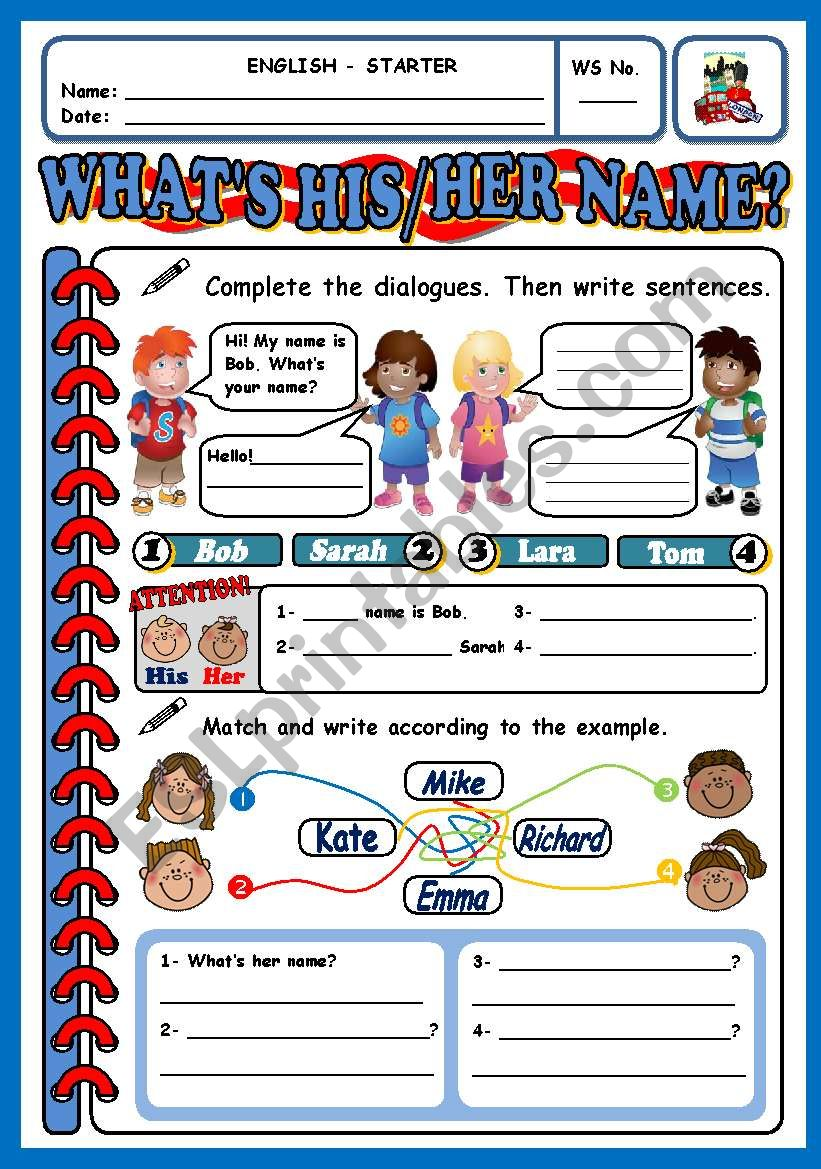 WHAT´S HIS/HER NAME? worksheet
