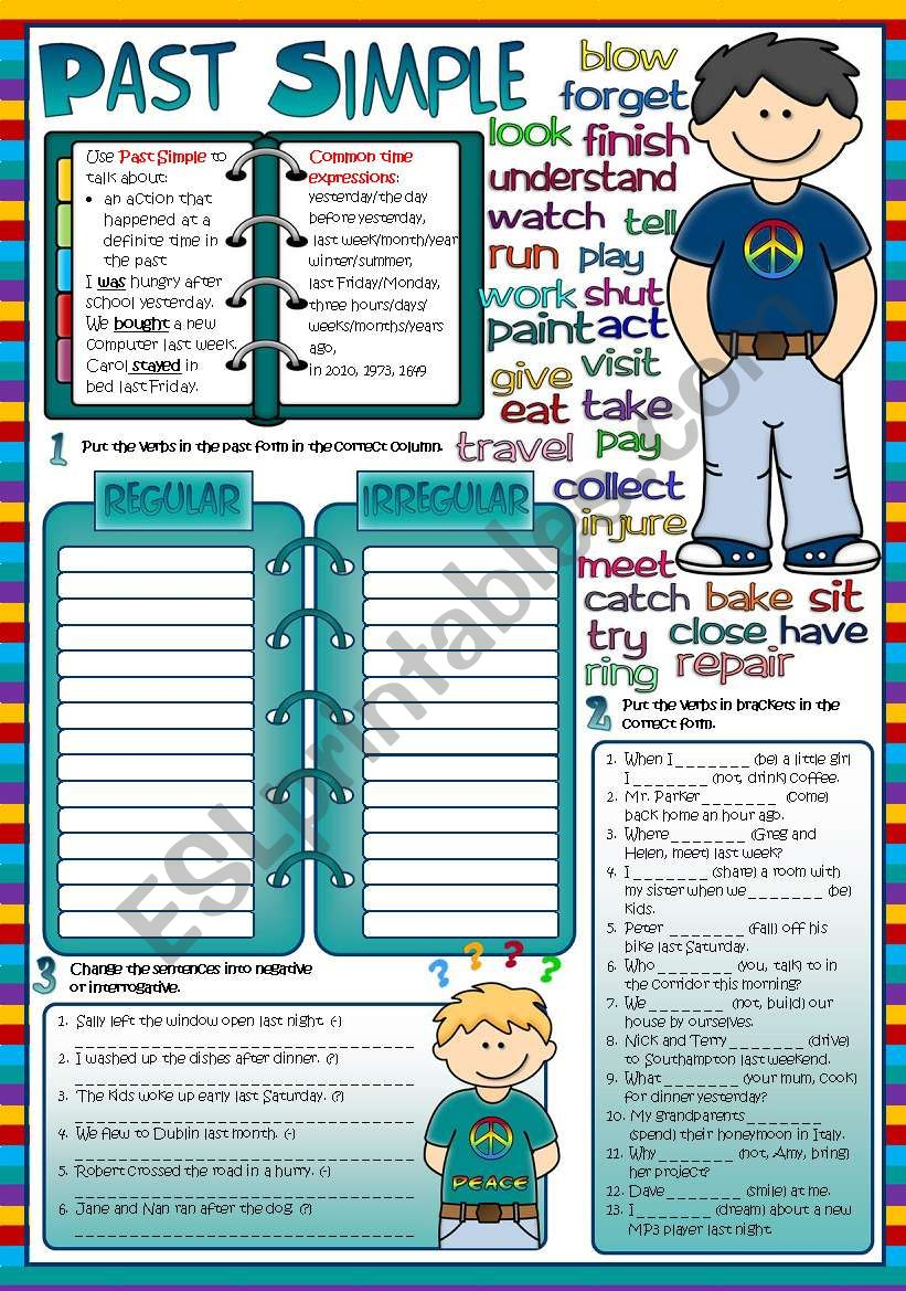Past Simple Tense *3 tasks* (Greyscale and KEY included)