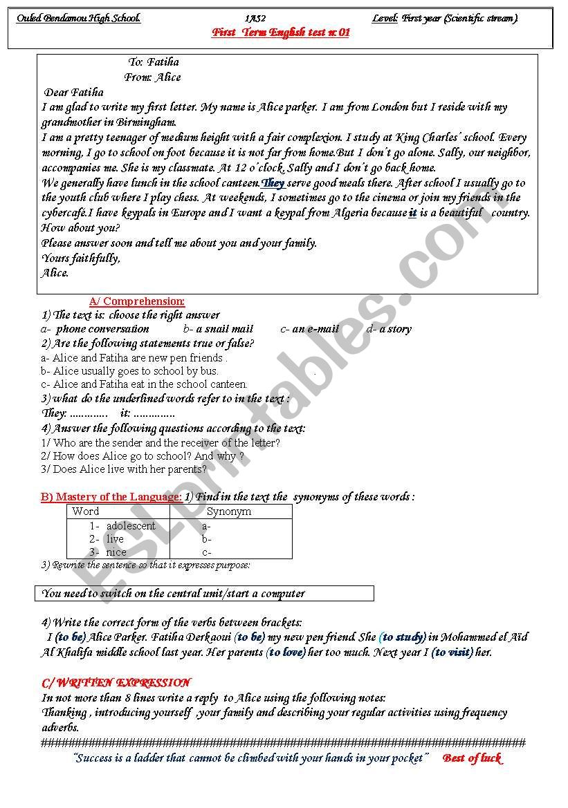 First Test In English Esl Worksheet By Freestyle1
