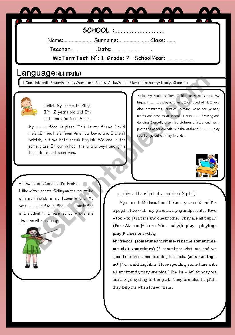 Mid Term Test No 1 Grade 7 worksheet