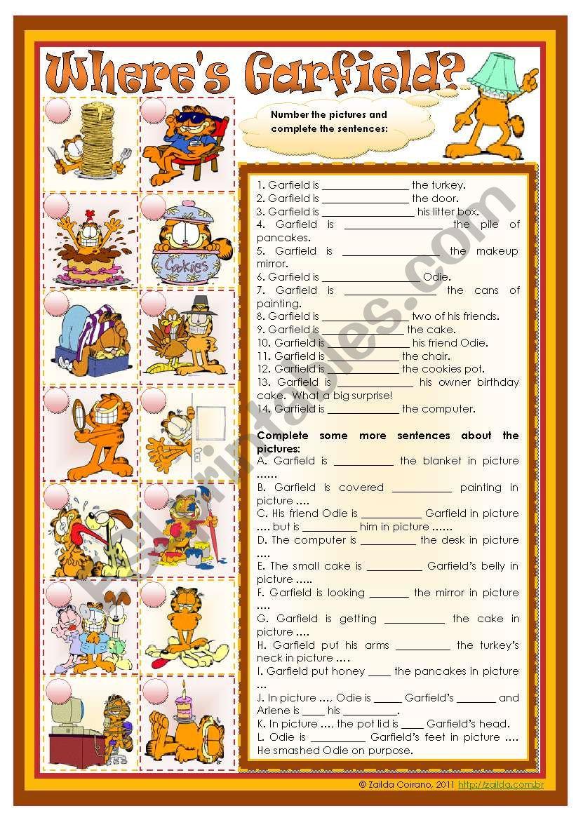 Where´s Garfield? - prepositions practice *editable