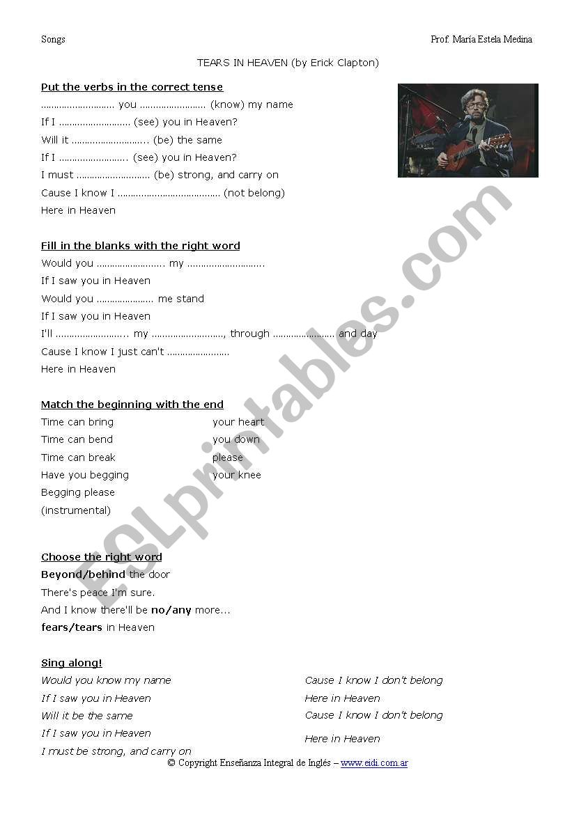 TEARS IN HEAVEN worksheet