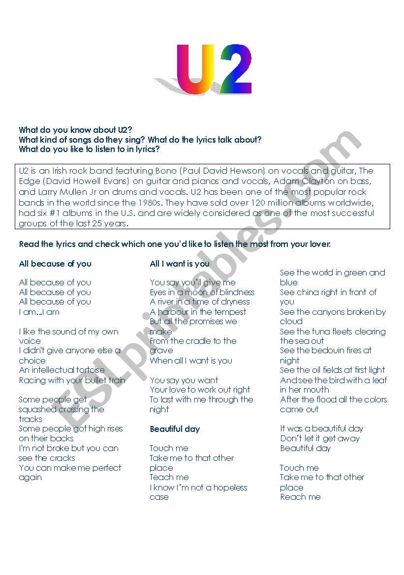 U2 songs- speaking, reading and writing exercise