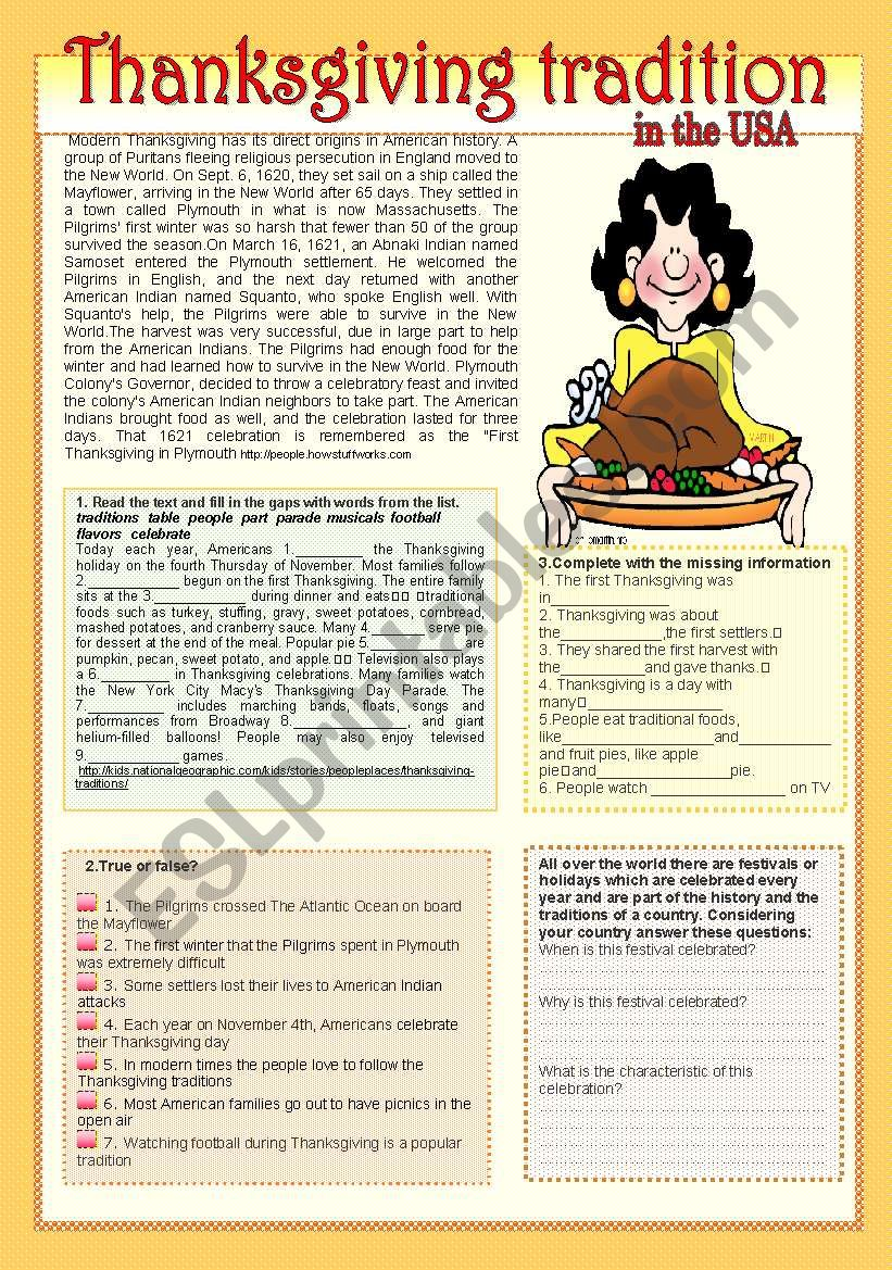 Thanksgiving tradition worksheet