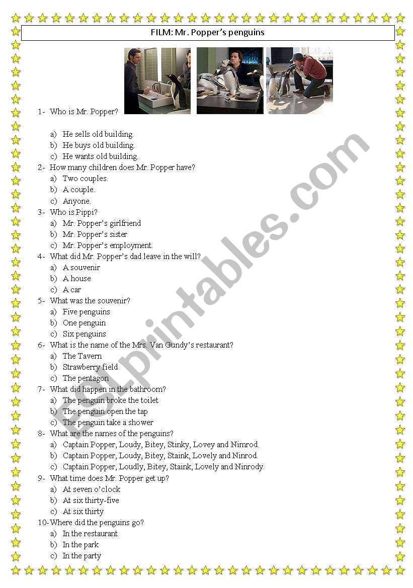 Mr. Popper´s penguins worksheet