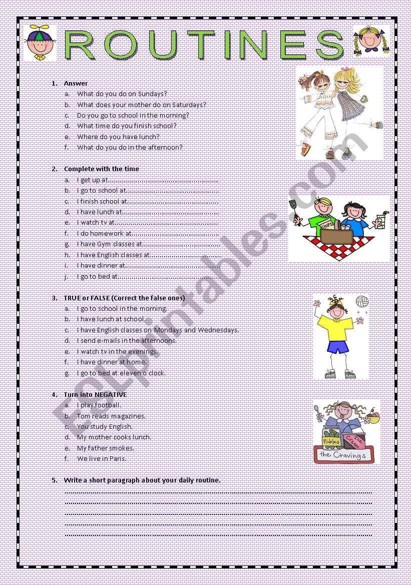 ROUTINES worksheet