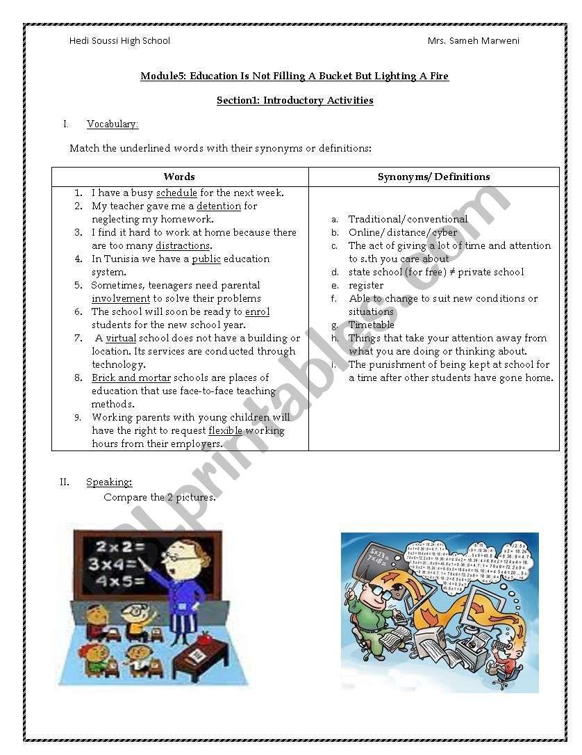 virtual schools worksheet