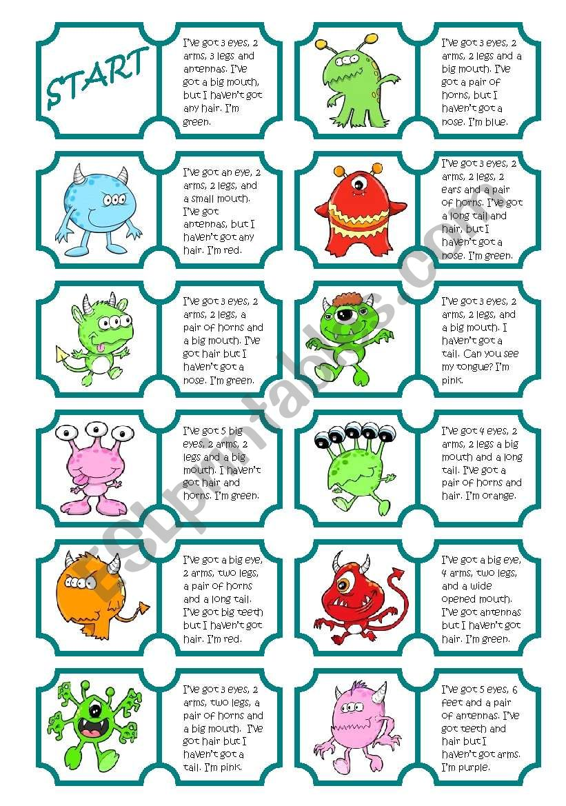 Monsters Dominoes (body parts)