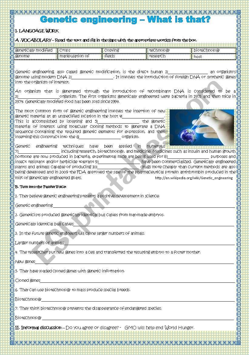 Genetic Engineering What Is That Esl Worksheet By
